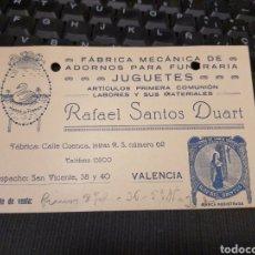 Sellos: RAFAEL SANTOS DUART. VALENCIA. Lote 226945585