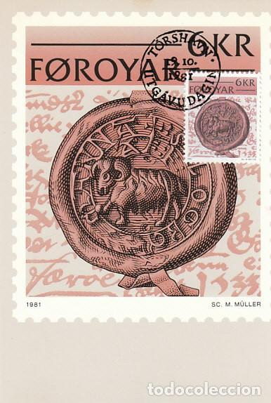 ISLAS FEROE (DINAMARCA) IVERT 62, ESCRITURA HISTÓRICA, SELLO DEL AÑO 1533, TARJETA MÁXIMA 9-10-1981 (Sellos - Extranjero - Tarjetas Máximas)