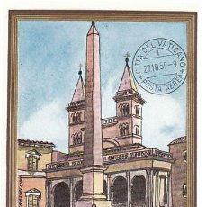Sellos: VATICANO IVERT AEREO Nº 35, OBELISCO DE SAN GIOVANNI LATERANO (ROMA), TARJETA MAXIMA DE 27-10-1959. Lote 230177950