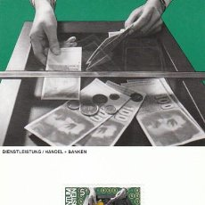 Sellos: LIECHTENSTEIN IVERT 790, COMERCIO Y BANCA (EL HOMBRE Y EL TRABAJO), TARJETA MAXIMA DE 10-9-1984. Lote 230186705
