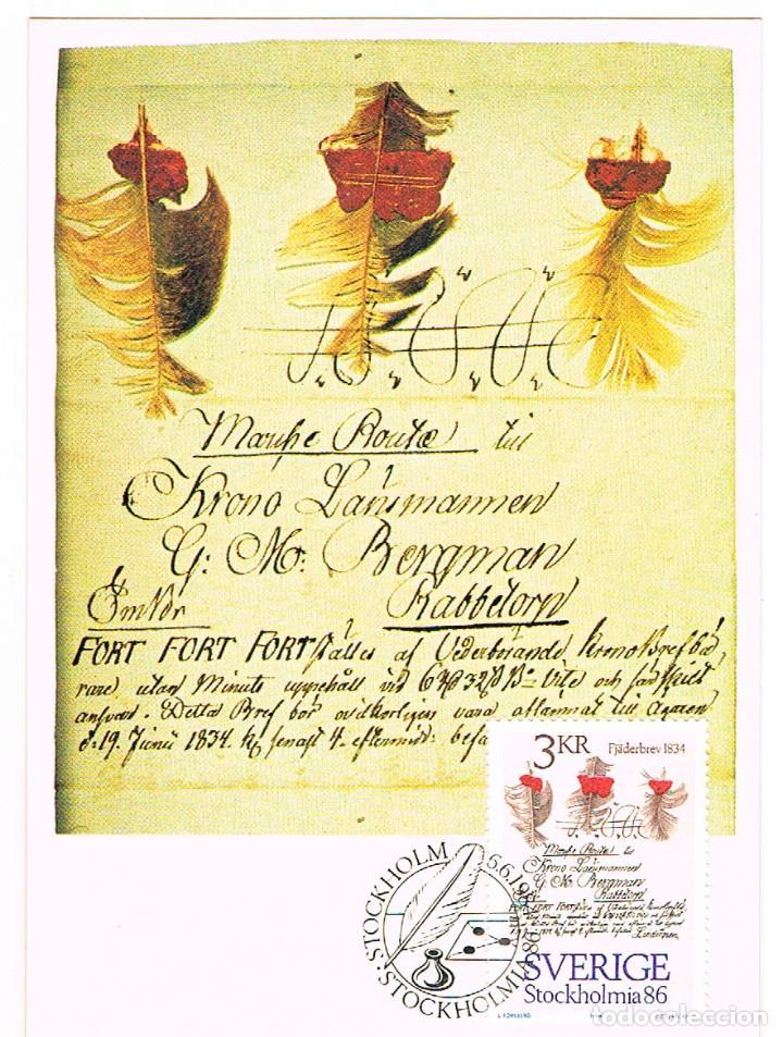 SUECIA IVERT Nº 1272, CARTA A PLUMA DE 1.834, TARJETA MAXIMA DE 6-6-1984 (Sellos - Extranjero - Tarjetas Máximas)