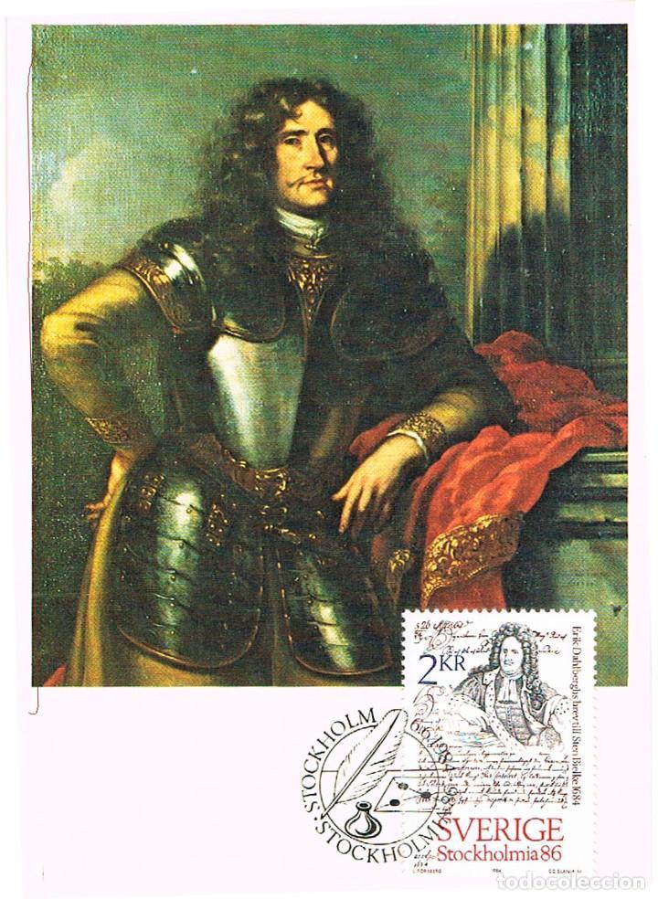 SUECIA IVERT Nº 1271, CARTA DE ERIK DAHLBERGH A STEN BIELKE EN 1684 , TARJETA MAXIMA DE 6-6-1984 (Sellos - Extranjero - Tarjetas Máximas)