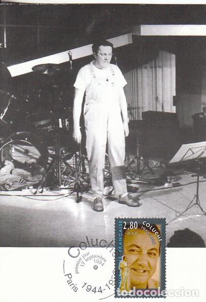 FRANCIA IVERT 2902, CINE: ACTORES DE CINE FRANCES: COLUCHE, TARJETA MAXIMA DE 17-9-1994 (Sellos - Extranjero - Tarjetas Máximas)