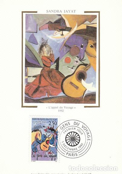 FRANCIA IVERT 2784, SANDRA JAYAT: LA GENTE ITINERANTE, TARJETA MÁXIMA DE 5-12-1992 (Sellos - Extranjero - Tarjetas Máximas)