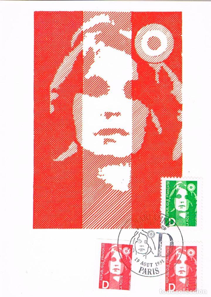 FRANCIA IVERT 2711/2, LA MARIANNE DEL BICENTENARIO, TARJETA MÁXIMA DE 19-8-1991 (Sellos - Extranjero - Tarjetas Máximas)