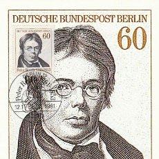 Sellos: ALEMANIA BERLIN IVERT 616, PETER BEUTH, EXPERTO ADMINISTRATIVO (2º CENTENARIO), MÁXIMA DE 12-11-1981. Lote 230249845
