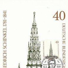 Sellos: ALEMANIA BERLIN IVERT 601, MONUMENTO A KREUZBERG EN BERLIN DE ARQUITECTO SCHINKEL, MÁXIMA 12-2-1981. Lote 230250415