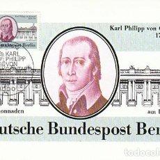 Sellos: ALEMANIA BERLIN IVERT 600, KARL PHILIPP VON GONTARD ARQUITECTO, COLUMNADAS BERLIN, MÁXIMA 15-1-1981. Lote 230250580