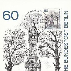 Sellos: ALEMANIA BERLIN IVERT 597, LA TORRE GRUNEWALD EN BERLIN, TARJETA MÁXIMA 13-11-1980. Lote 230251235