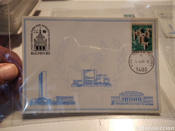 Sellos: 4 Tarjetas postales Naciones Unidas mismo sello diferentes cuños - Foto 2 - 232868305