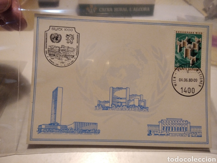 Sellos: 4 Tarjetas postales Naciones Unidas mismo sello diferentes cuños - Foto 4 - 232868305
