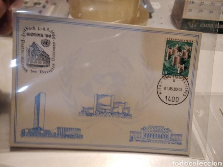Sellos: 4 Tarjetas postales Naciones Unidas mismo sello diferentes cuños - Foto 5 - 232868305
