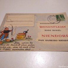 Sellos: TARJETA POSTAL ALEMANIA MIEL BIENENFLEISS NIENDORF PRECIOS 1957. Lote 233037550