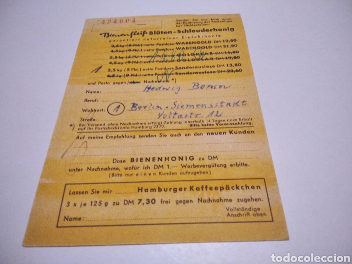 Sellos: Tarjeta publicidad miel Bienenfleiss Niendorf Alemania 1957 - Foto 2 - 233037645