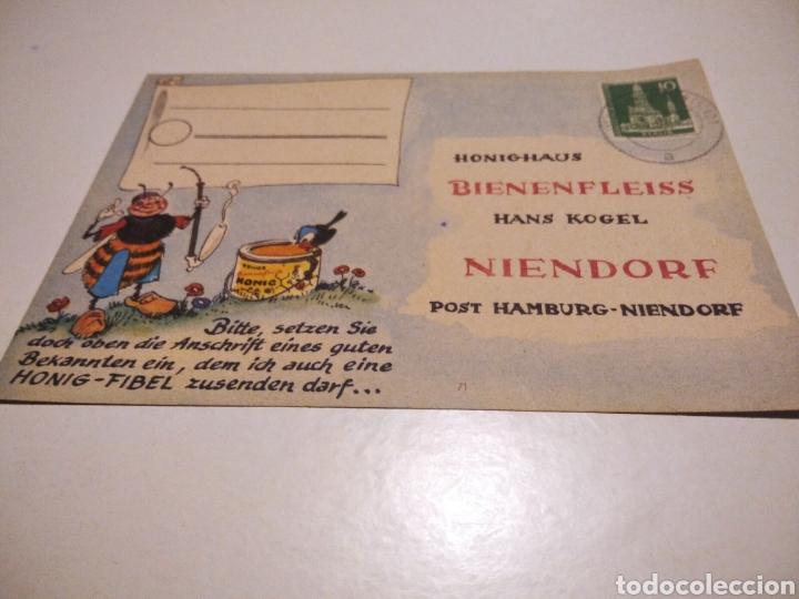 TARJETA PUBLICIDAD MIEL BIENENFLEISS NIENDORF ALEMANIA 1957 (Sellos - Extranjero - Tarjetas)