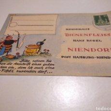 Sellos: TARJETA PUBLICIDAD MIEL BIENENFLEISS NIENDORF ALEMANIA 1957. Lote 233037645