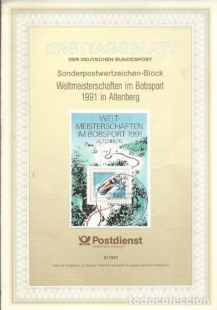 ERSTTAGSBLATT 8 1991 DER DEUTSCHEN BUNDESPOST SONDERPOSTWERTZEICHEN BLOCK WELTMEISTERSCHAFTEN IM BOB (Sellos - Extranjero - Tarjetas)