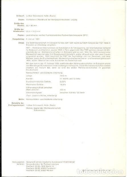 Sellos: ERSTTAGSBLATT 8 1991 DER DEUTSCHEN BUNDESPOST SONDERPOSTWERTZEICHEN BLOCK WELTMEISTERSCHAFTEN IM BOB - Foto 2 - 233743675