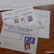 Sellos: 3 TARJETAS COMERCIAL 1949, 1954 Y 1956.. Lote 233964760