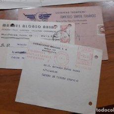 Sellos: 3 TARJETAS COMERCIAL 1945, 1946 Y 1957.. Lote 233965675