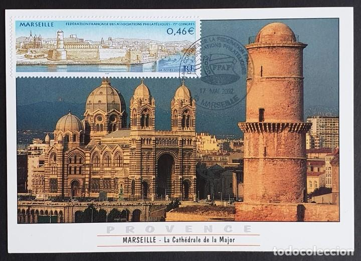 TARJETA MÁXIMA FRANCIA - LA CATHÉDRALE DE LA MAJOR, MARSEILLE 2002 (Sellos - Extranjero - Tarjetas Máximas)