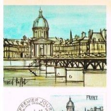 Sellos: FRANCIA IVERT Nº 1994, BERNARD BUFFET: VISTA DE PARIS, TARJETA MAXIMA DE 4-2-1978. Lote 235064830