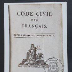 Sellos: TARJETA MÁXIMA FRANCIA - BICENTENARIE DU CODE CIVIL DES FRANÇAIS, PARIS 2004. Lote 235289530