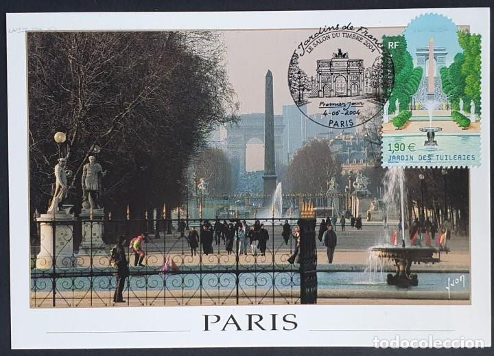 TARJETA MÁXIMA FRANCIA - JARDIN DES TULIPANES, PARIS 2004 (Sellos - Extranjero - Tarjetas Máximas)