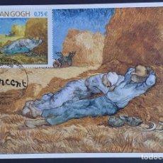"Sellos: TARJETA MÁXIMA FRANCIA - PINTURA: VINCENT VAN GOGH ""LA MÉRIDIENNE OU LA SIESTE"", PARIS 2004. Lote 235300785"