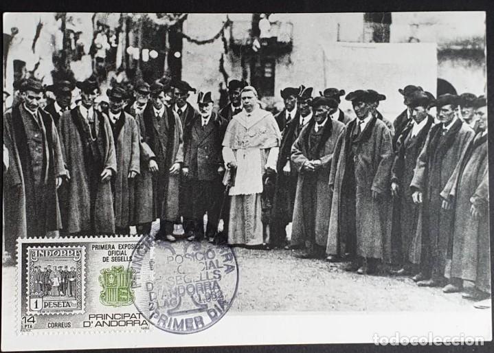 TARJETA MÁXIMA ANDORRA - PRIMERA EXPOSICIÓN OFICIAL DE SEGELLS, PRINCIPADO DE ANDORRA ES 1982 (Sellos - Extranjero - Tarjetas Máximas)