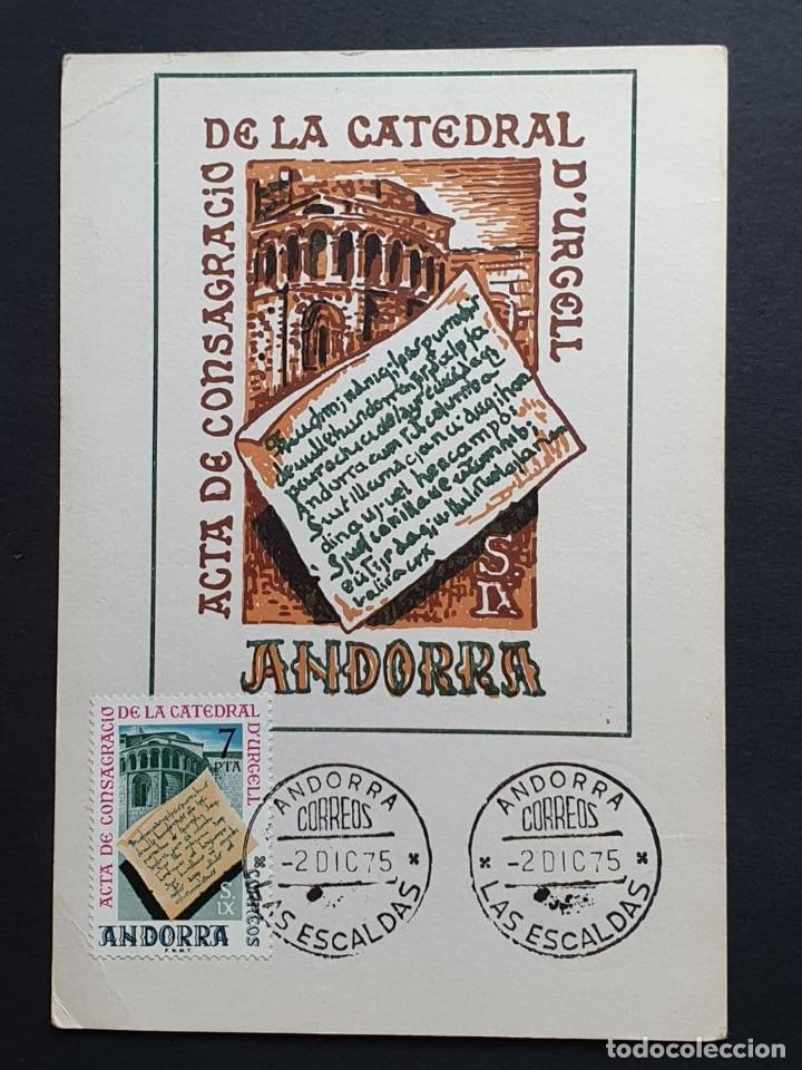 TARJETA MÁXIMA ANDORRA - ACTA DE CONSAGRACIO DE LA CATEDRAL D´URGELL, LAS ESCALDAS ES 1975 (Sellos - Extranjero - Tarjetas Máximas)
