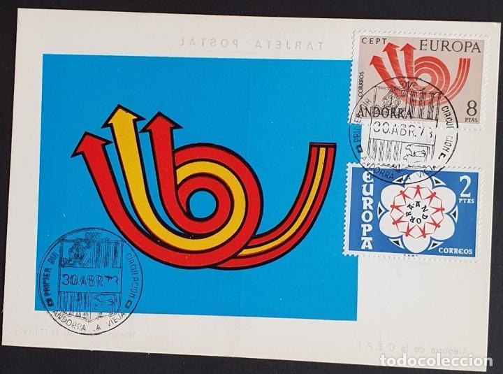 TARJETA MÁXIMA ANDORRA - EUROPA: ALEGORIA DE LA C.E.P.T., ANDORRA LA VIEJA ES 1973 (Sellos - Extranjero - Tarjetas Máximas)