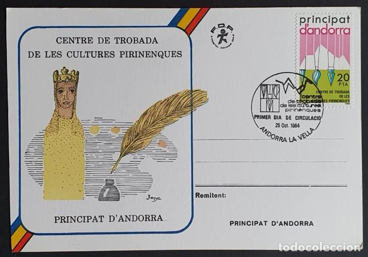 TARJETA MÁXIMA ANDORRA - CENTRE DE TROBADA DE LAS CULTURES PIRINENQUES, ANDORRA LA VELLA ES 1984 (Sellos - Extranjero - Tarjetas Máximas)