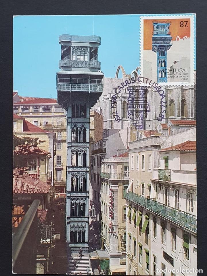 TARJETA MÁXIMA PORTUGAL - TRANSPORTES DE LISBOA, ELEVADOR DE STA. JUSTA, CARRIS LISBOA 1989 (Sellos - Extranjero - Tarjetas Máximas)