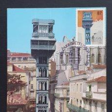 Sellos: TARJETA MÁXIMA PORTUGAL - TRANSPORTES DE LISBOA, ELEVADOR DE STA. JUSTA, CARRIS LISBOA 1989. Lote 235521800