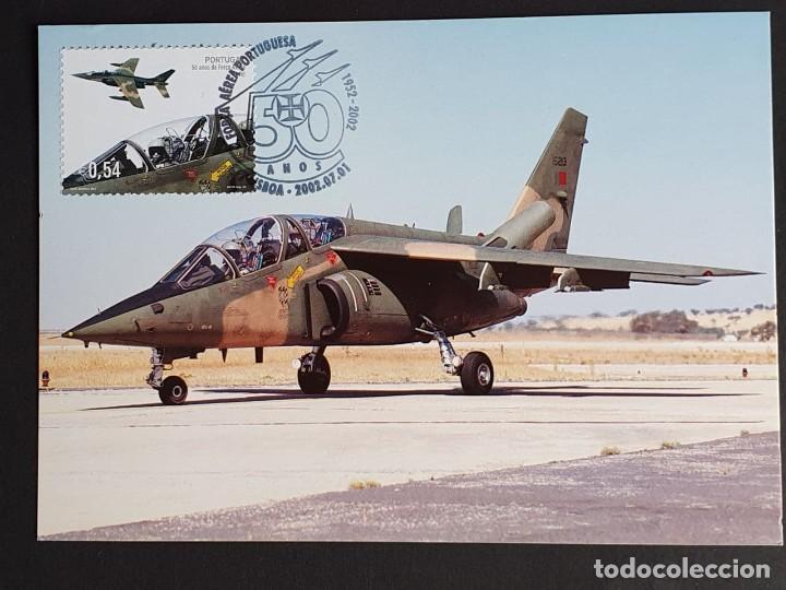 TARJETA MÁXIMA PORTUGAL - 50 AÑOS FORÇA AÉREA PORTUGUESA: AVIÄO A-JET, LISBOA 2002 (Sellos - Extranjero - Tarjetas Máximas)