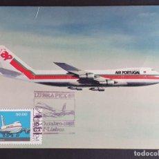 Sellos: TARJETA MÁXIMA PORTUGAL - LUBRAPEX´82: AVIÄO BOING 747 - 300 282B NAVIGATOR JET, LISBOA 1982. Lote 235526670