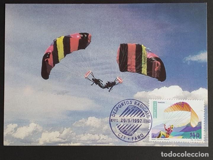 TARJETA MÁXIMA PORTUGAL - DEPORTOS RADICAIS: PARA - PENTA, FARO 1997 (Sellos - Extranjero - Tarjetas Máximas)