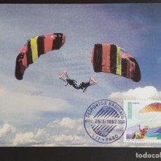 Sellos: TARJETA MÁXIMA PORTUGAL - DEPORTOS RADICAIS: PARA - PENTA, FARO 1997. Lote 235543950