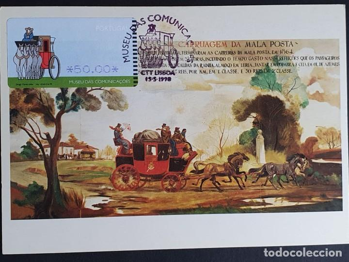 TARJETA MÁXIMA PORTUGAL - ATM - MUSEU DAS COMUNIÇÖES: A CARRUAGEM DE MALA-POSTA, LISBOA 1998 (Sellos - Extranjero - Tarjetas Máximas)
