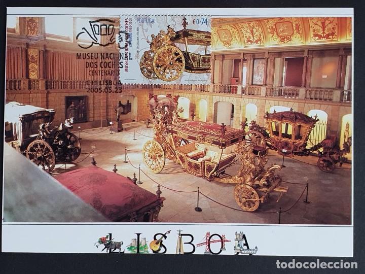 TARJETA MÁXIMA PORTUGAL - MUSEU NACIONAL DOS COCHES: COCHE DOS OCEANOS S. XVIII, LISBOA 2005 (Sellos - Extranjero - Tarjetas Máximas)