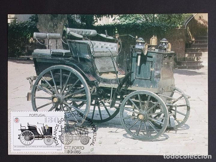 TARJETA MÁXIMA PORTUGAL - 100 ANOS DO AUTOMÓVEL EM PORTUGAL: PANHARD & LEVASSOR 1895, PORTO 1995 (Sellos - Extranjero - Tarjetas Máximas)
