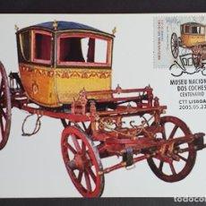 Sellos: TARJETA MÁXIMA PORTUGAL - MUSEU NACIONAL DOS COCHES: SEGE DAS PLUMAS S. XVIII, LISBOA 2005. Lote 235568220