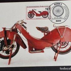 Timbres: TARJETA MÁXIMA ALEMANIA - HISTORIA DE LA MOTOCICLETA: MEGOLA-SPORT 1922, BONN 1983 I. Lote 237709490