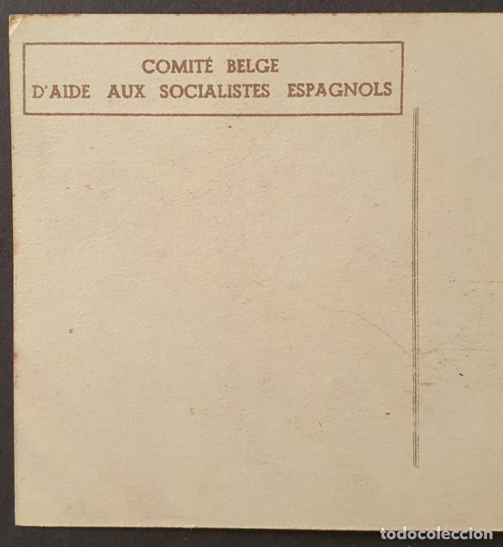 Sellos: Guerra Civil: COMITE BELGE DAIDE AUX ESPAGNOLS Muy rara Emitida en Bélgica. - Foto 3 - 240015040