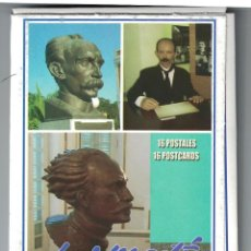Sellos: CUBA 2016 JOSE MARTI - SCULPTURES - 16 POSTCARDS - FAMOUS PEOPLE. Lote 241501115