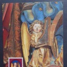 """Sellos: TARJETA MÁXIMA LIECHTENSTEIN - NAVIDAD: ESCULTURAS CATEDRAL DE COIRE """"ANGEL CON ORGANO"""", VADUZ 1982. Lote 243430175"""