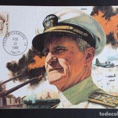 Francobolli: TARJETA MÁXIMA USA - CHESTER NIMITZ COMANDANTE EN JEFE DE LA ARMADA, FREDERICKSBURG, TX 1985. Lote 244181610