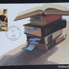 Sellos: TARJETA MÁXIMA USA - EDUCACIÓN PUBLICA, LIBROS, BOSTON, MA 1985. Lote 244530730