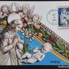 Sellos: TARJETA MÁXIMA USA - NAVIDAD: LA VIRGEN Y EL NIÑO JESÚS, DETROIT, MI 1985. Lote 244531540